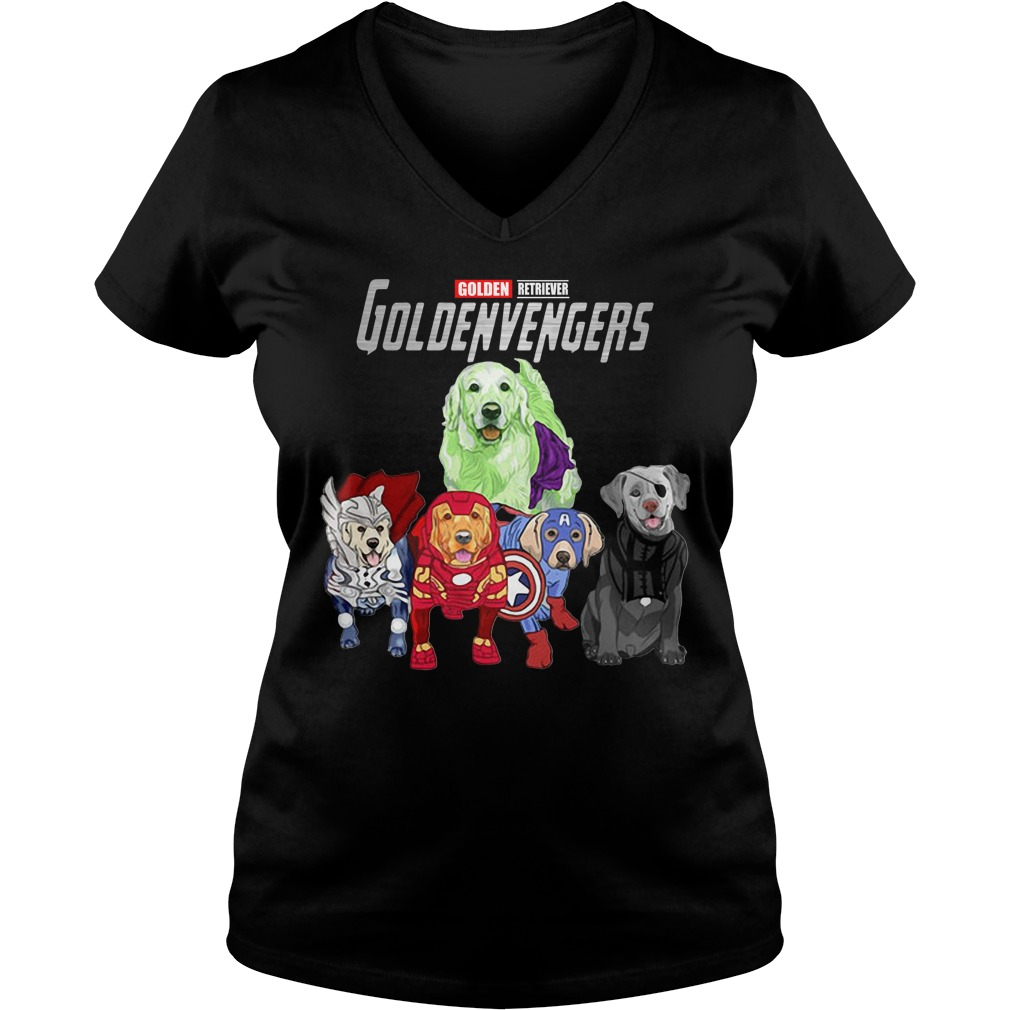 Marvel Avengers Golden Retriever Goldenvengers V-neck T-shirt