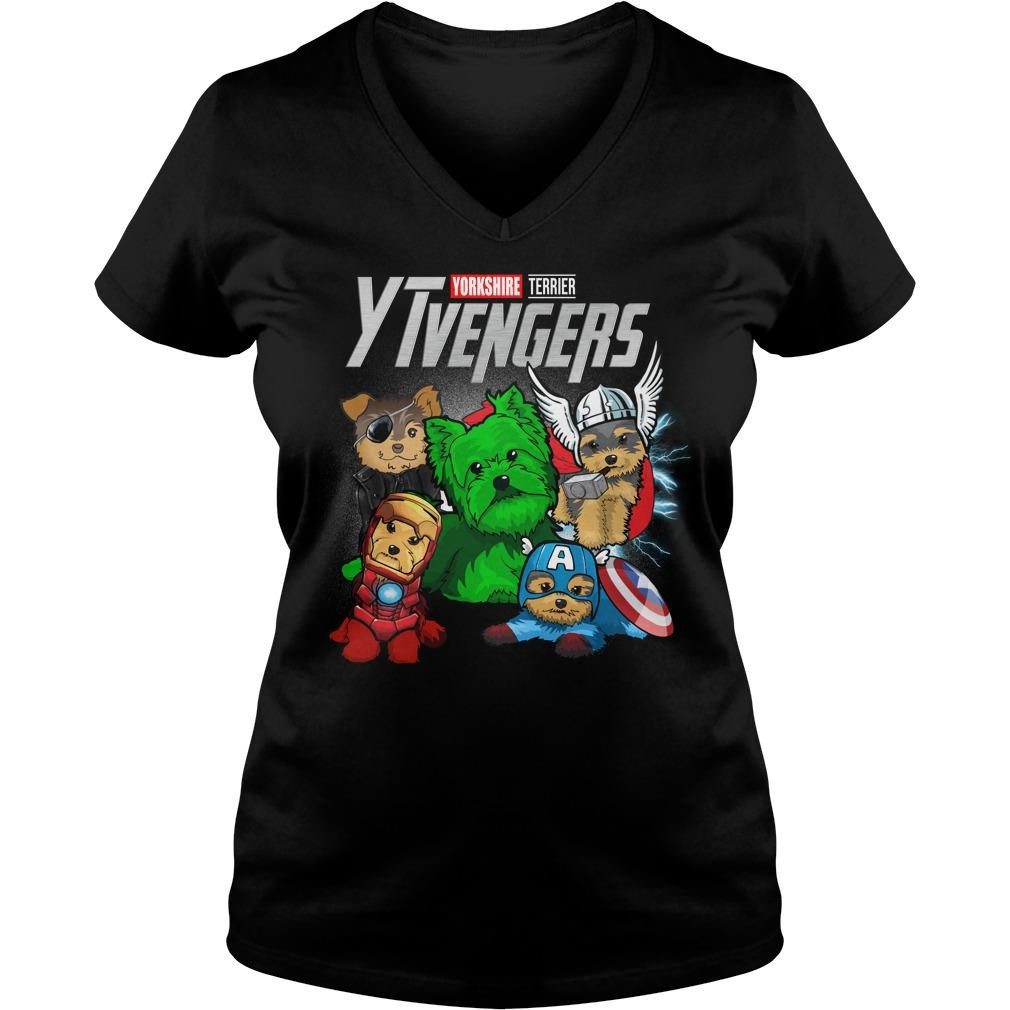 Marvel Avengers Yorkshire Terrier Ytvengers V-neck T-shirt