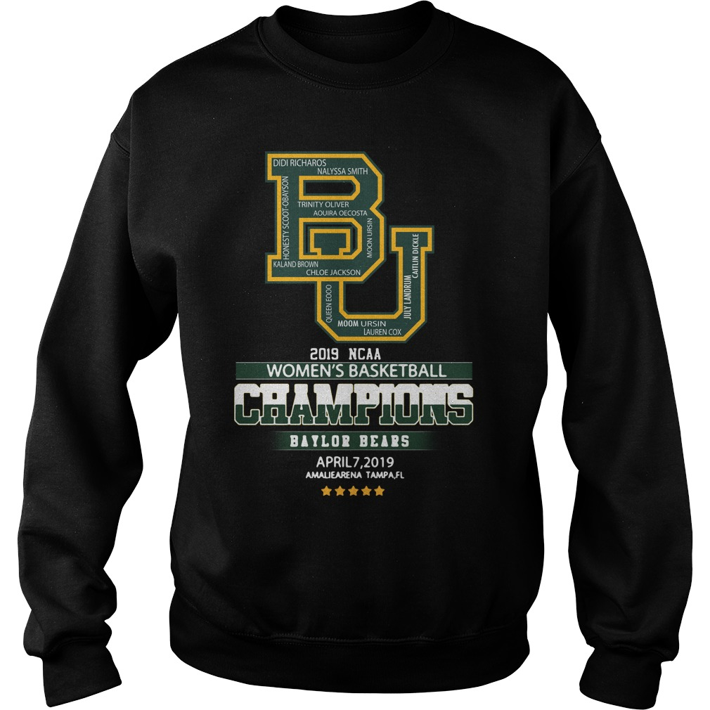 Ncaa Women's Basketball Champions Baylor Bears April 7 2019 Tampa Sweater