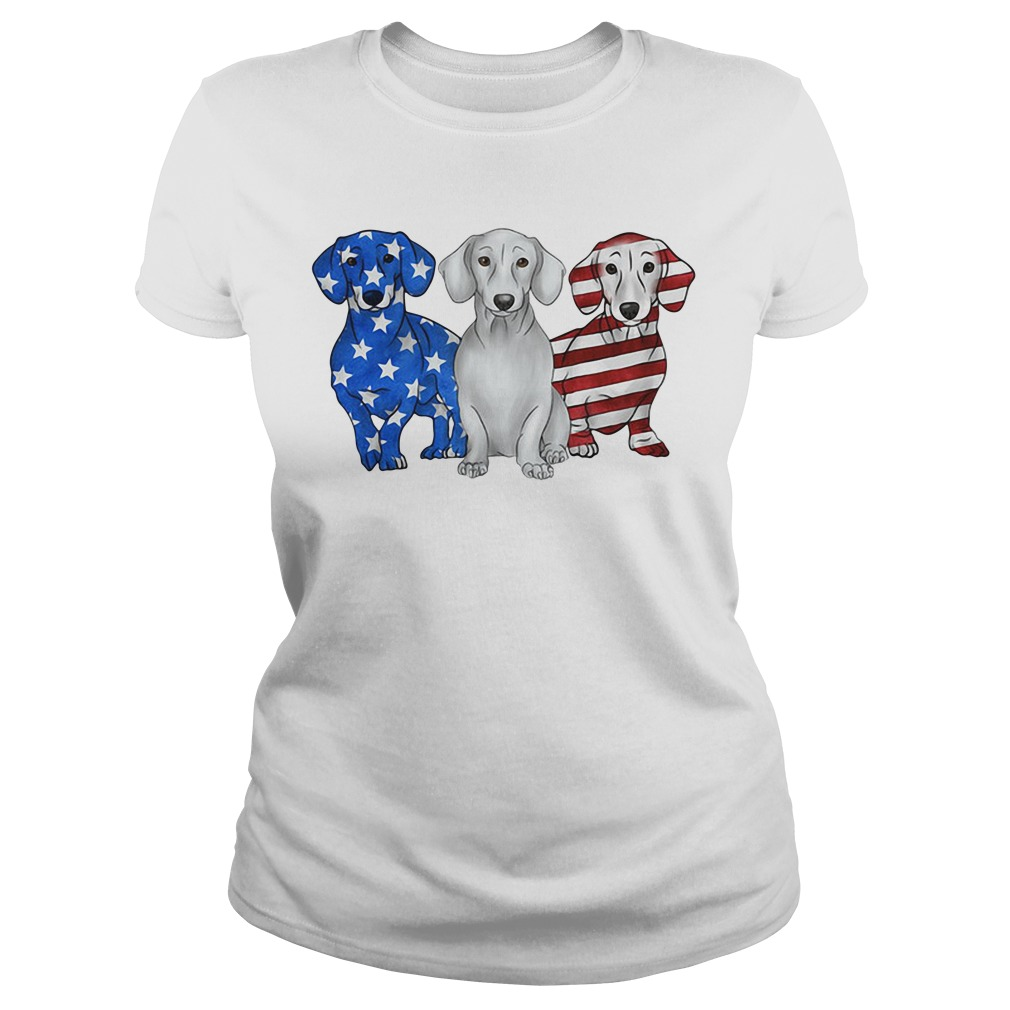 Independence Day 4th Of July Dachshund America Flag Ladies Tee