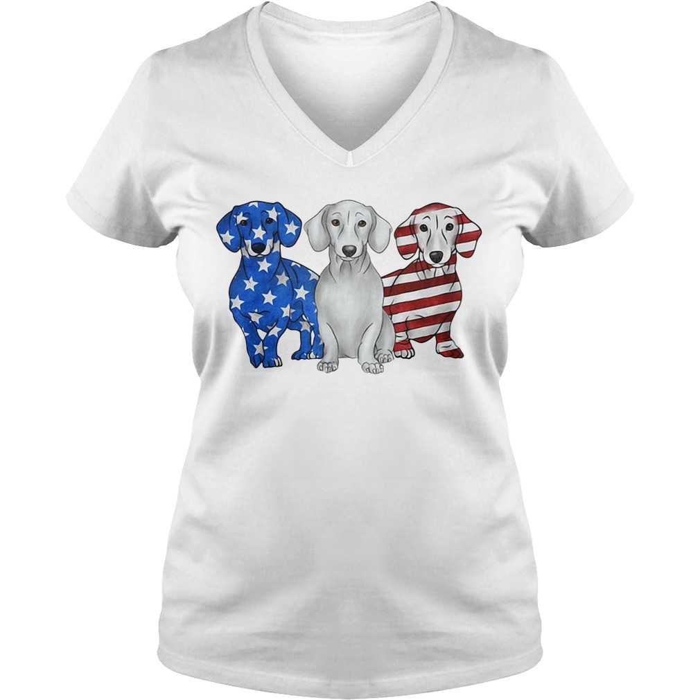 Independence Day 4th Of July Dachshund America Flag V-neck T-shirt