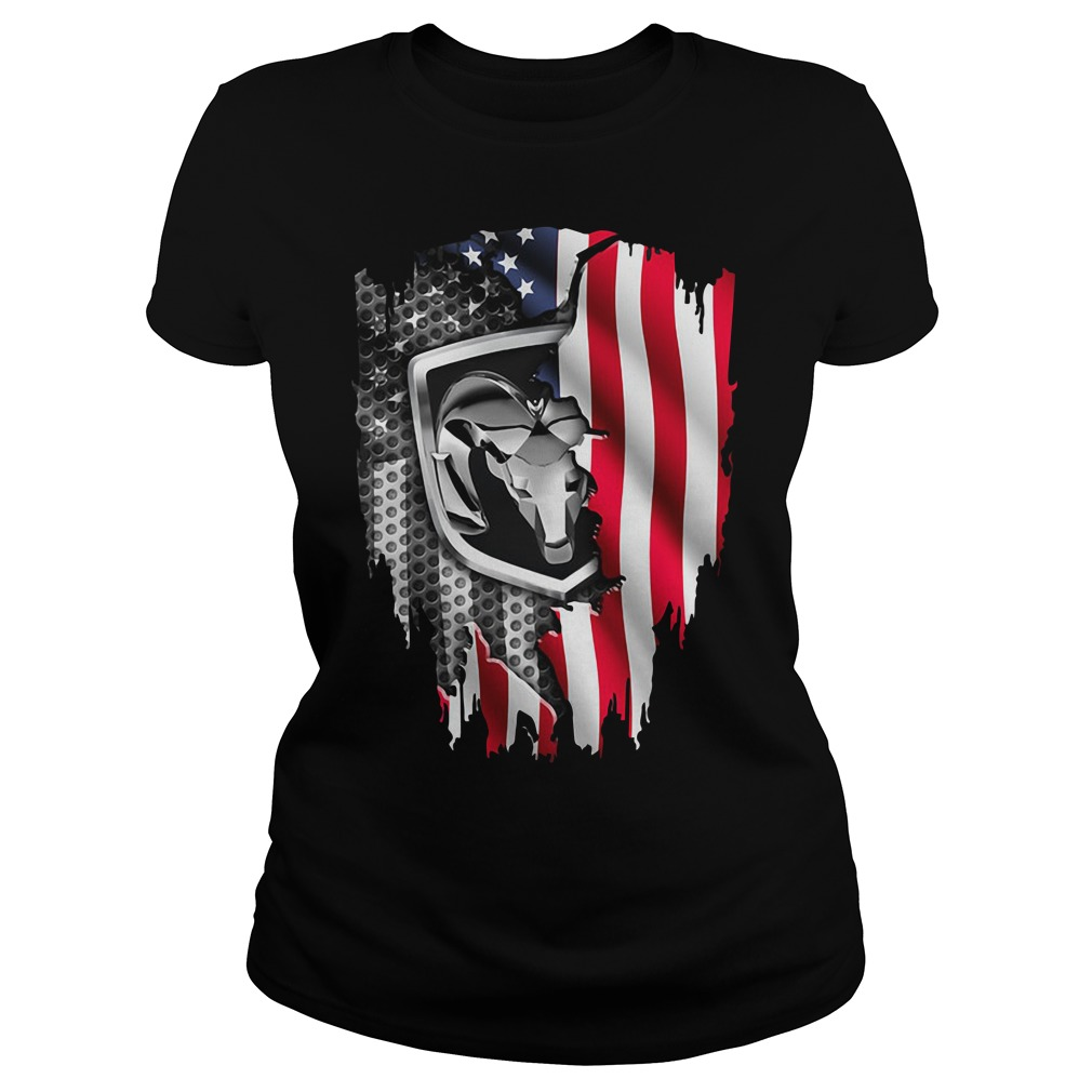 Independence Day 4th Of July Dodge Ram Head America Flag Ladies Tee