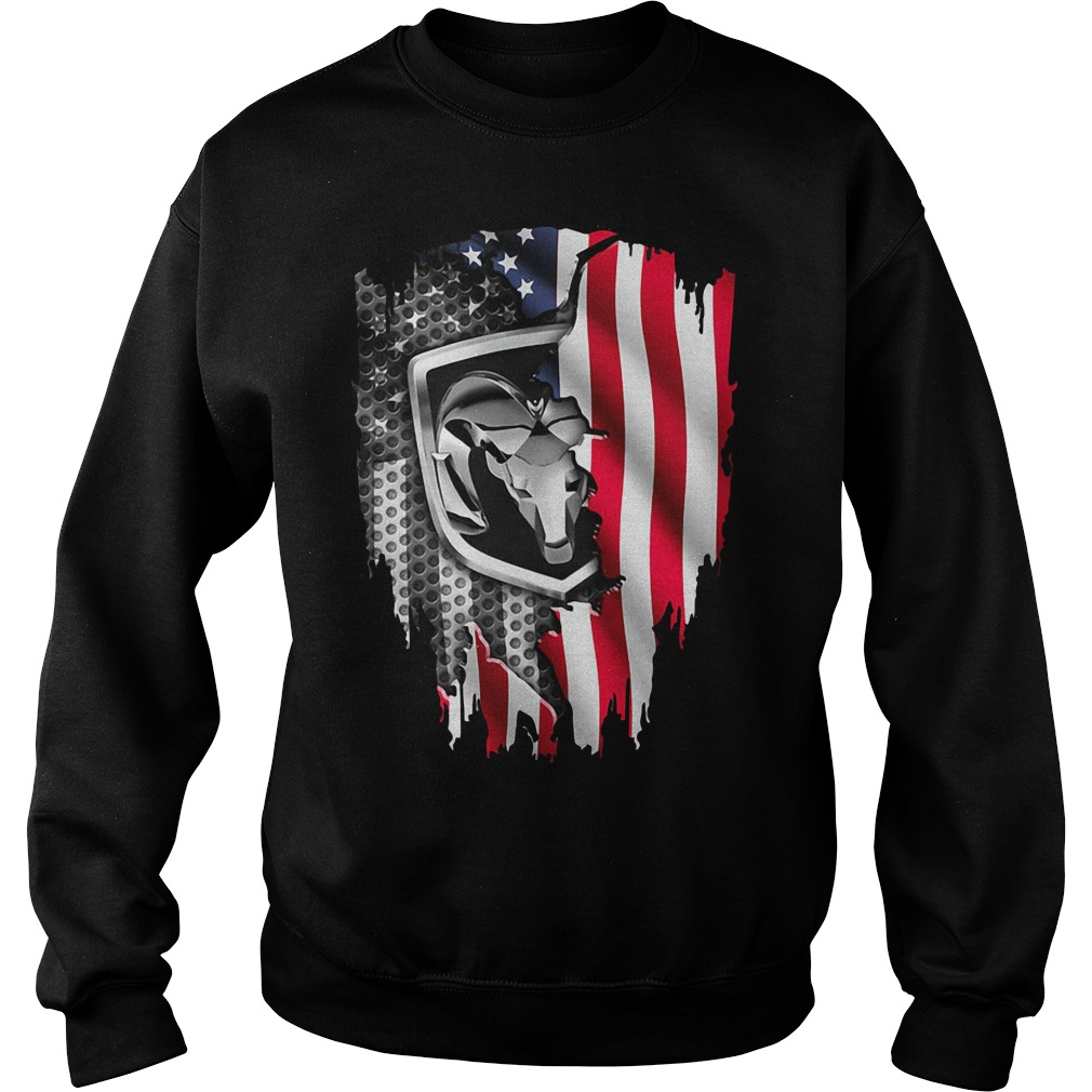 Independence Day 4th Of July Dodge Ram Head America Flag Sweater