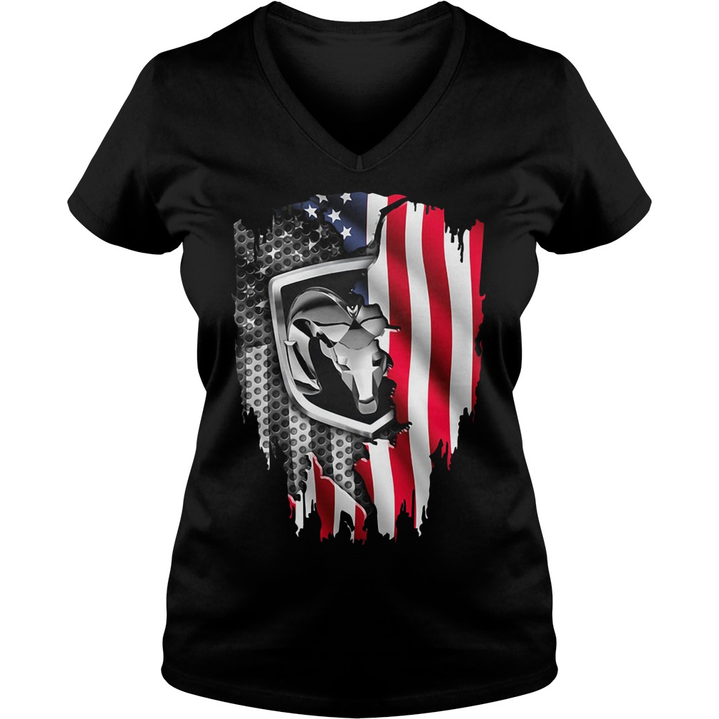 Independence Day 4th Of July Dodge Ram Head America Flag V-neck T-shirt
