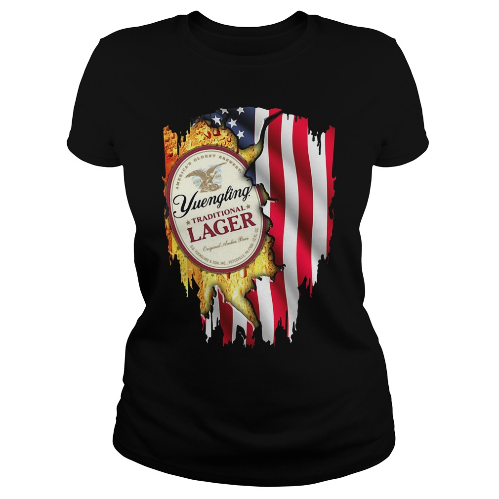 Independence Day 4th Of July Yuengling Traditional Lager America Flag Ladies Tee