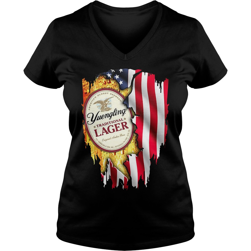 Independence Day 4th Of July Yuengling Traditional Lager America Flag V-neck T-shirt