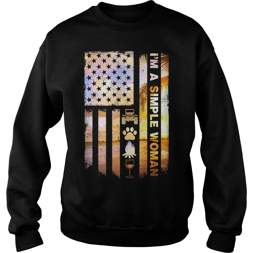 America Flag I'm A Simple Woman I Like Jeep Dog Paw Fire And Beer Sweater