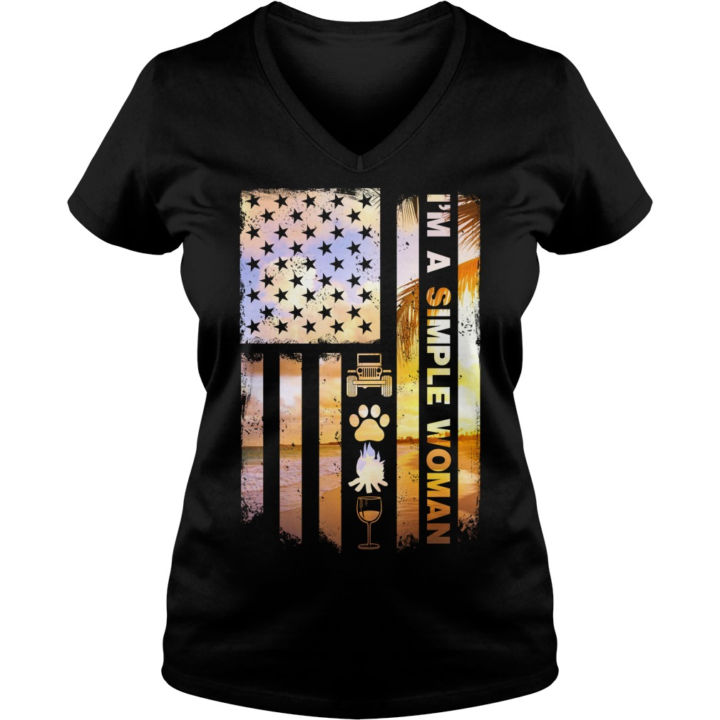 America Flag I'm A Simple Woman I Like Jeep Dog Paw Fire And Beer V-neck T-shirt