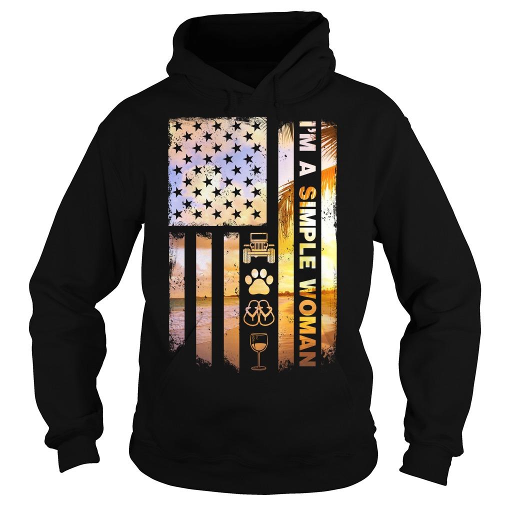 America Flag Im Simple Woman Like Jeep Dog Paw Flip Flop Beer Hoodie