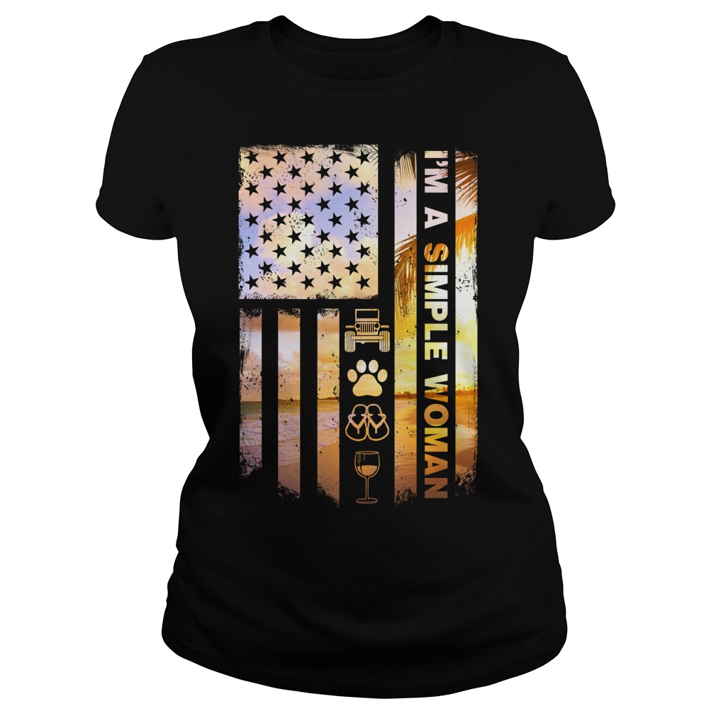 America Flag Im Simple Woman Like Jeep Dog Paw Flip Flop Beer Ladies Tee