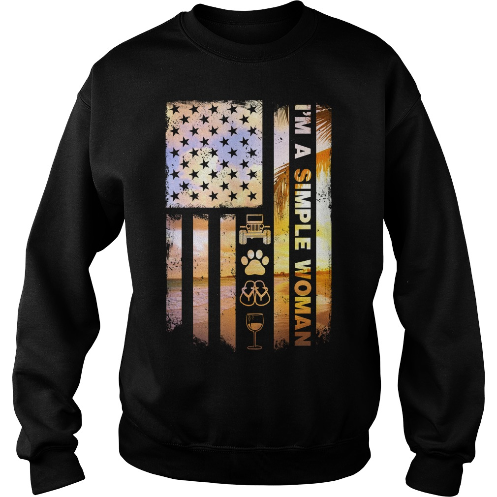 America Flag Im Simple Woman Like Jeep Dog Paw Flip Flop Beer Sweater