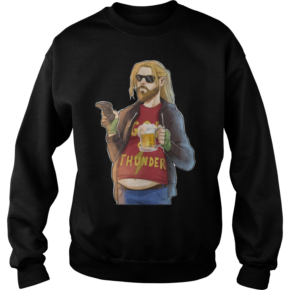 Avengers Endgame Fat Thor Drinking Beer Playing Game Sweater