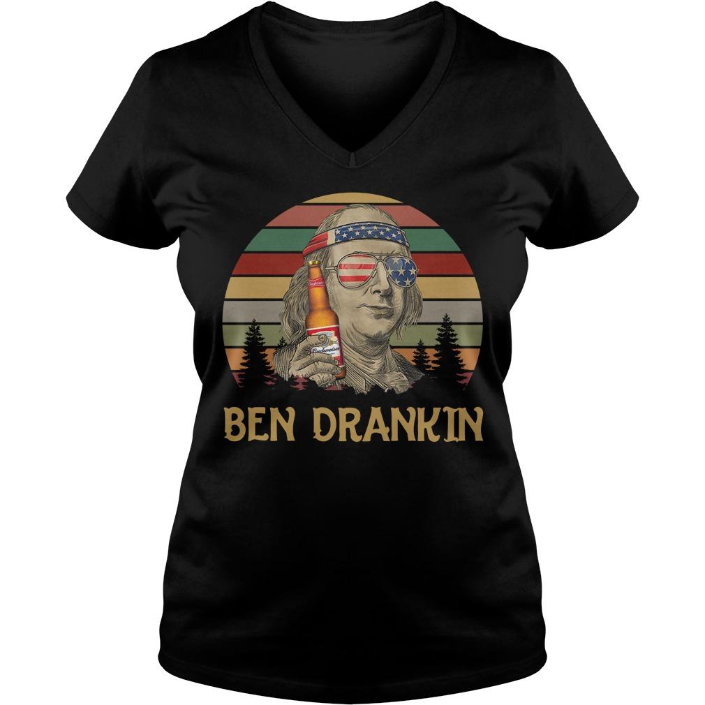 Budweiser Ben Drankin Benjamin Franklin America Flag Sunset V-neck T-shirt