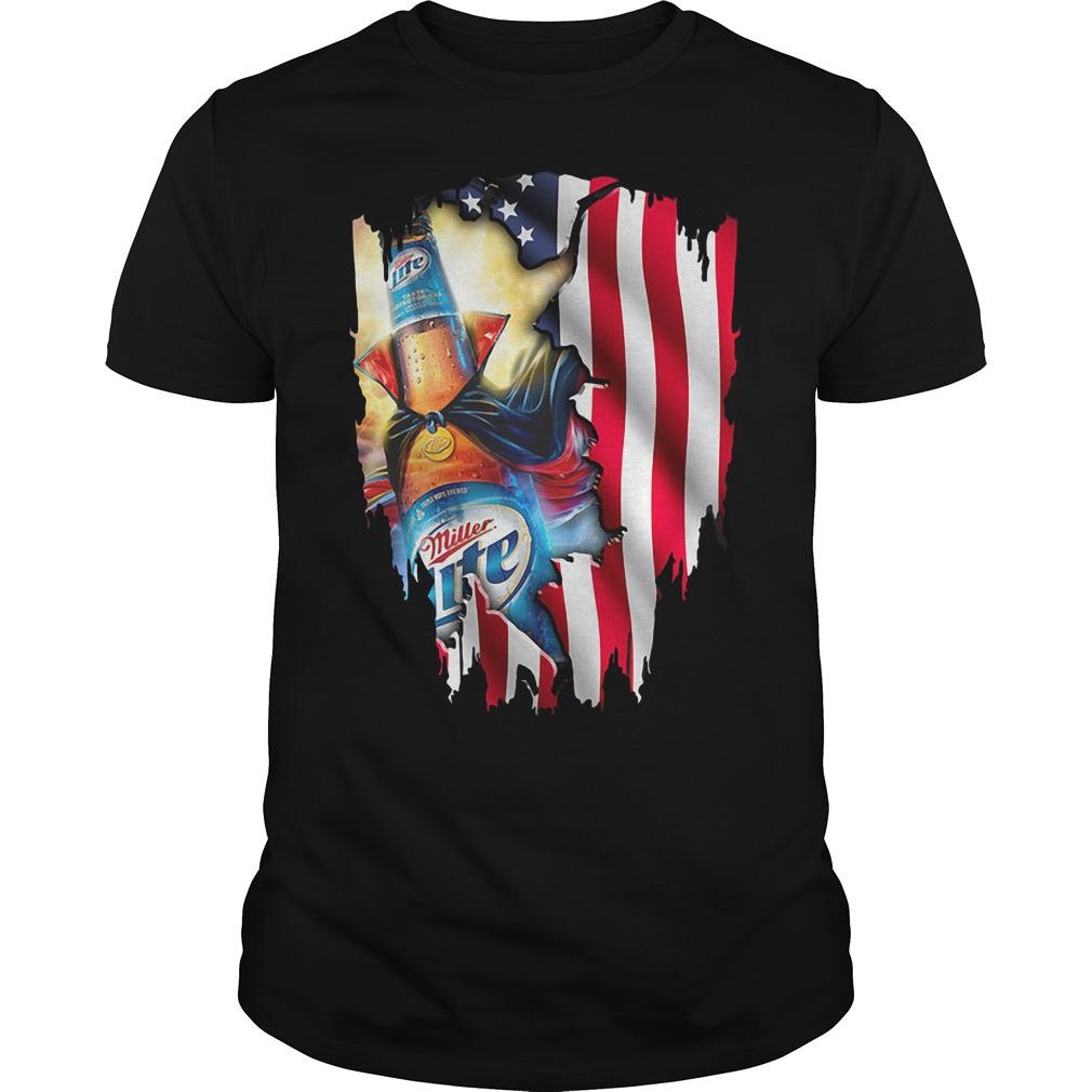 Independence Day 4th Of July Miller Lite America Flag Guys shirt