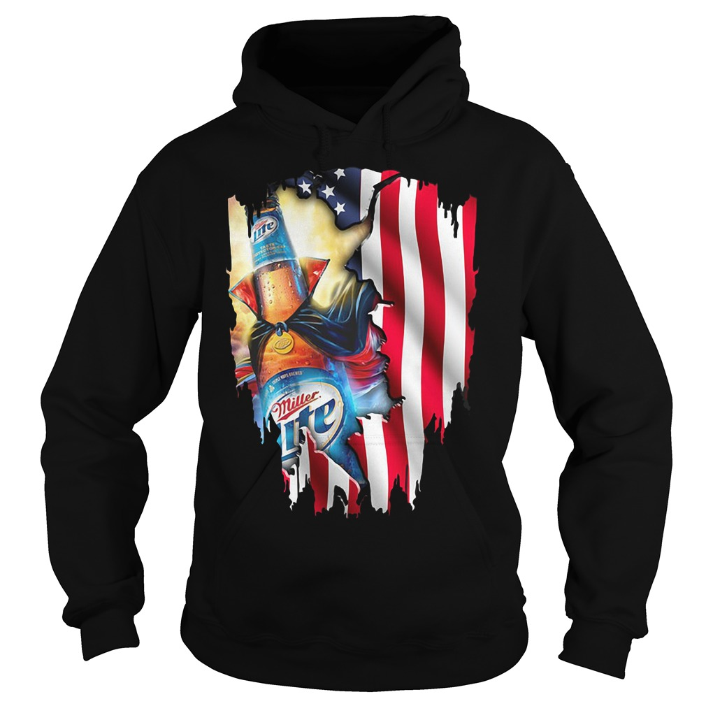 Independence Day 4th Of July Miller Lite America Flag Hoodie