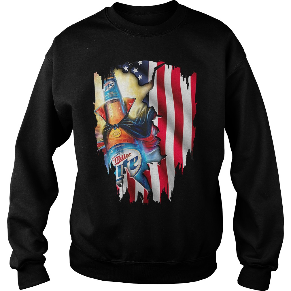 Independence Day 4th Of July Miller Lite America Flag Sweater