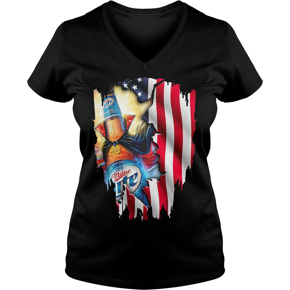 Independence Day 4th Of July Miller Lite America Flag V-neck T-shirt