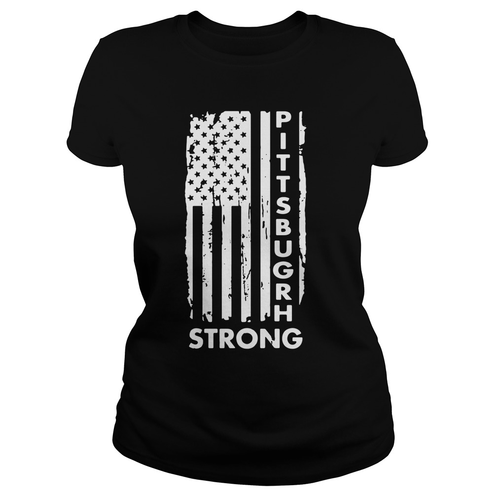Pittsburgh Steelers America Flag Strong Pray Support Ladies Tee