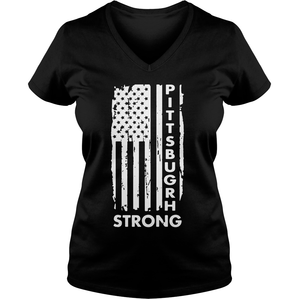 Pittsburgh Steelers America Flag Strong Pray Support V-neck T-shirt