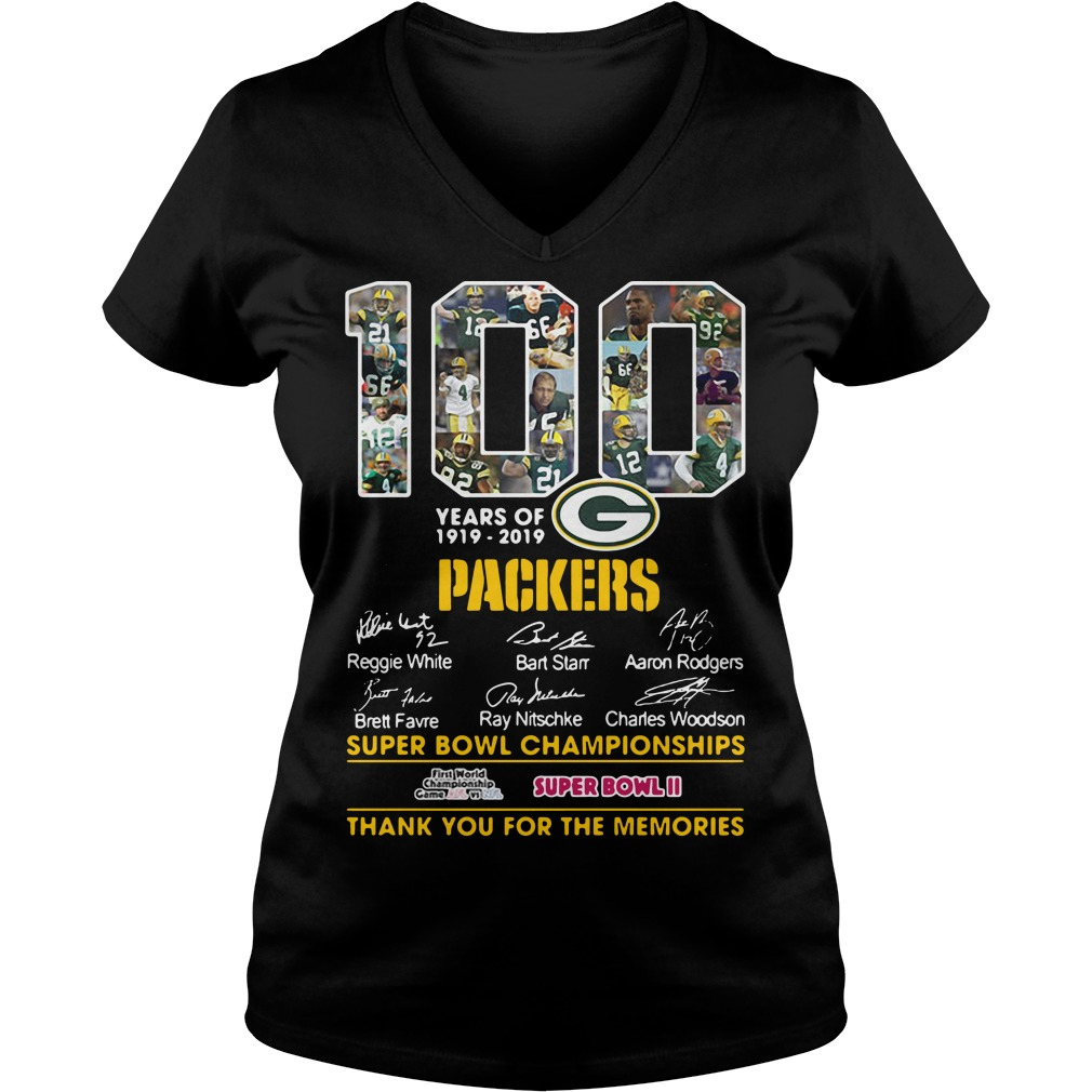 100 Years Of 1919 2019 Green Bay Packers Signature V-neck T-shirt