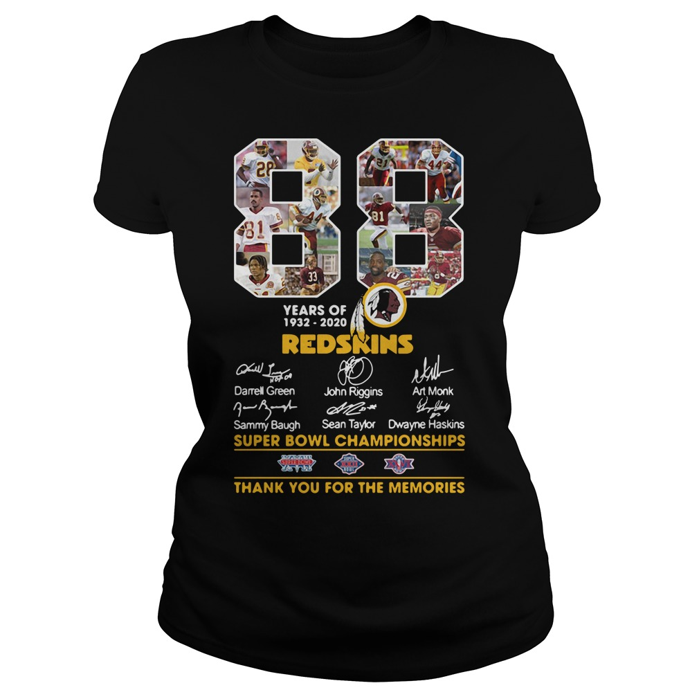 88 Years Of 1932 2020 Washington Redskins Signature Ladies Tee