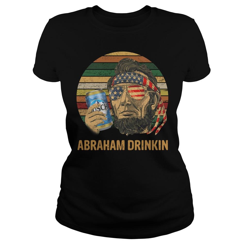 Abraham Lincoln Drankin Busch Light Sunset Ladies tee