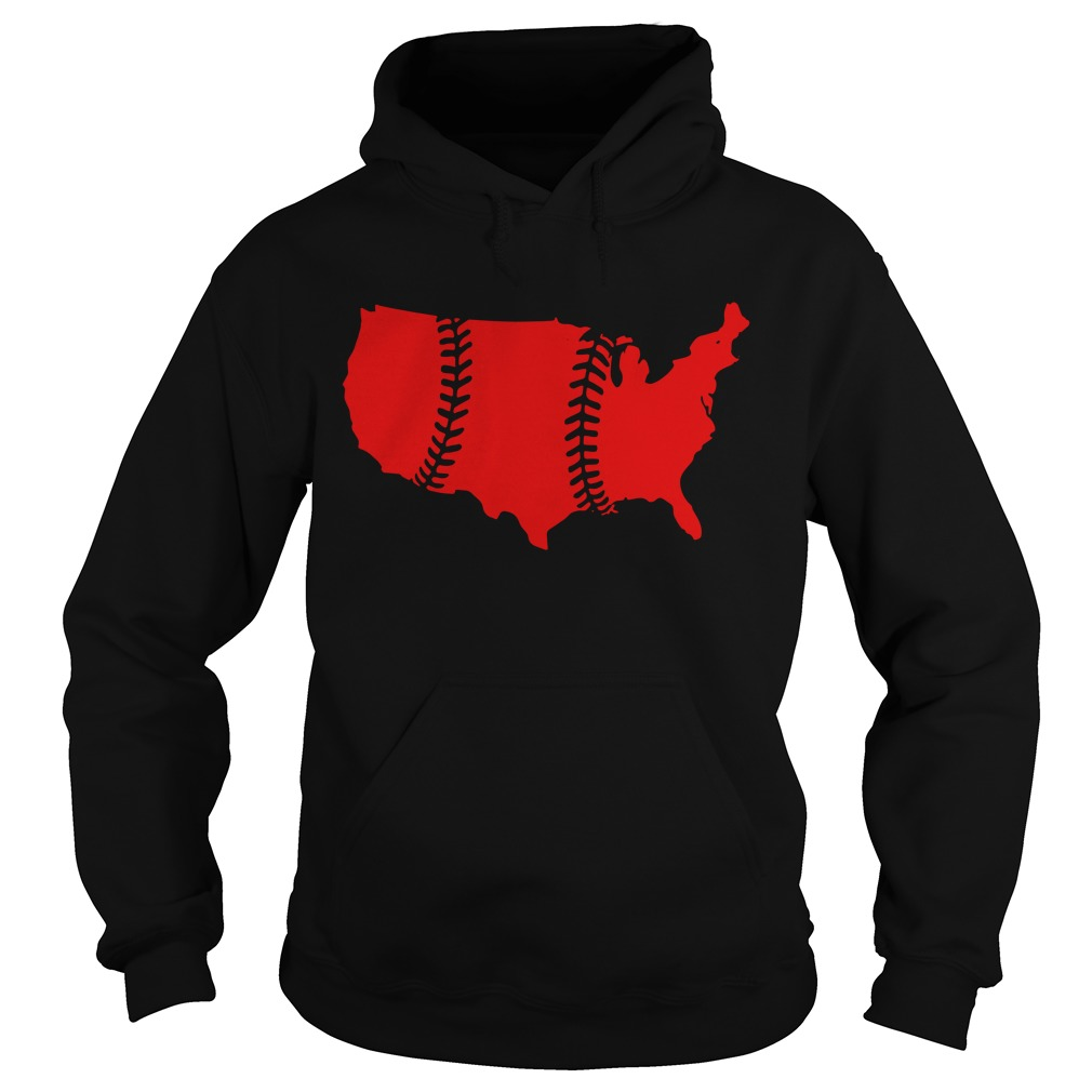 America Map Baseball Laces Hoodie