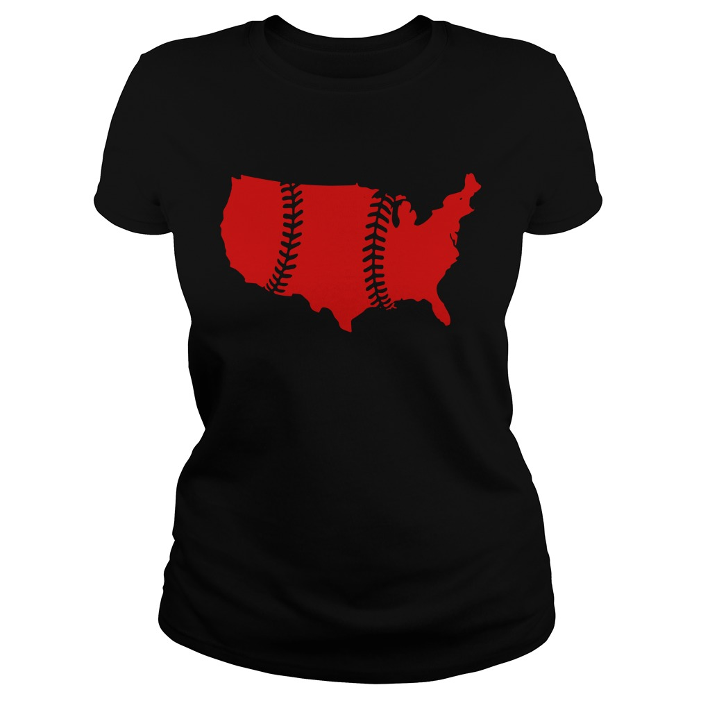 America Map Baseball Laces Ladies tee