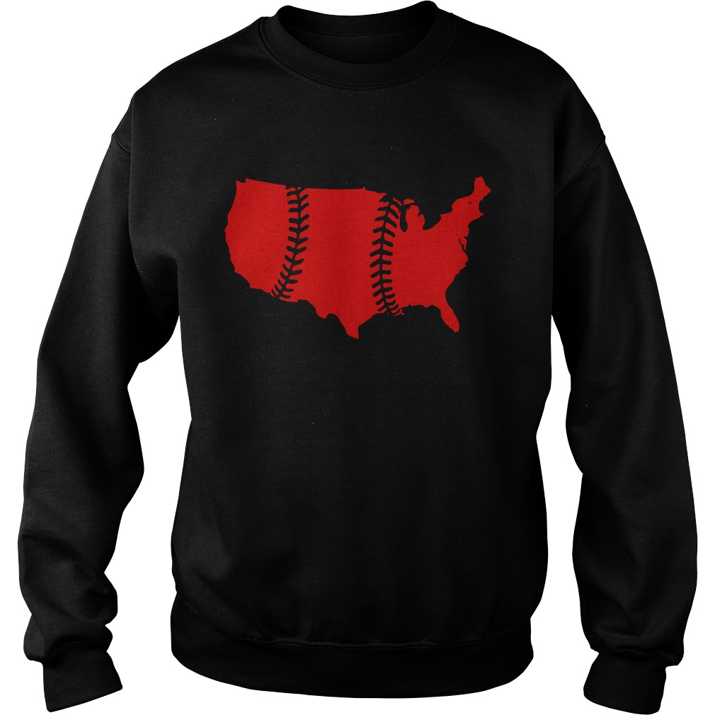 America Map Baseball Laces Sweater