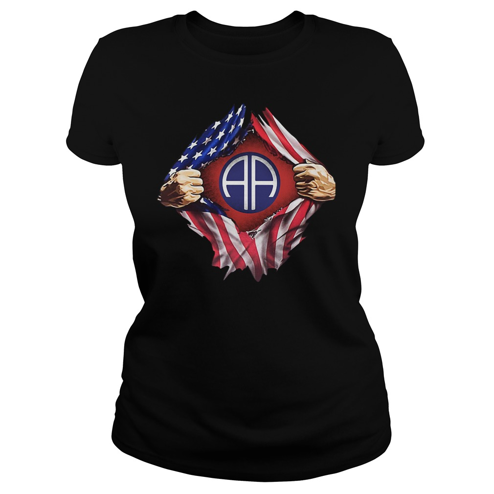 Army Airborne Blood Inside Me 4th Of July Independence Day Ladies tee