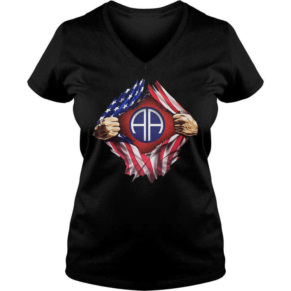Army Airborne Blood Inside Me 4th Of July Independence Day V-neck T-shirt
