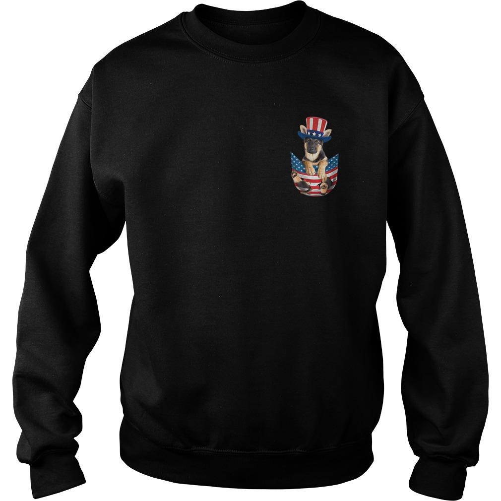 German Shepherd America Flag Pocket Sweater