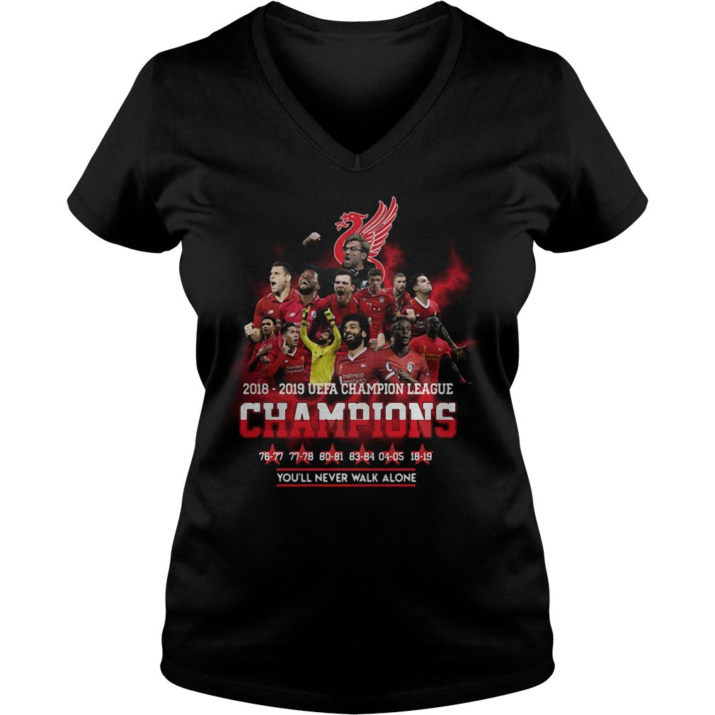 Liverpool 2018 2019 Uefa Champions League Champions V-neck T-shirt