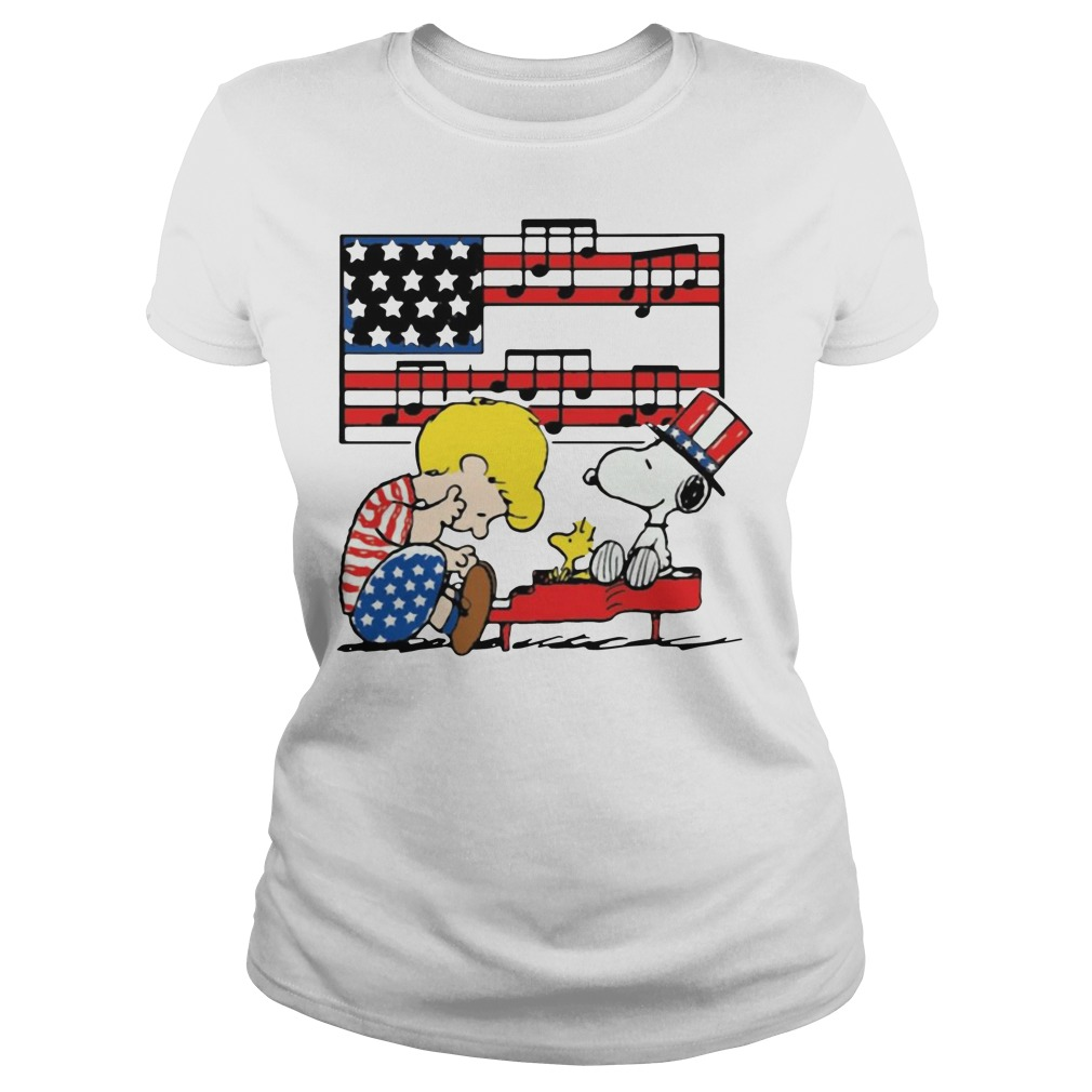 Schroeder Playing Piano Woodstock And Snoopy 4th Of July Ladies Tee