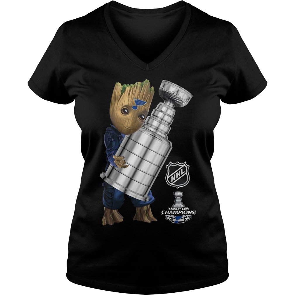 St. Louis Blues Baby Groot Hug Stanley Cup Champions 2019 V-neck T-shirt