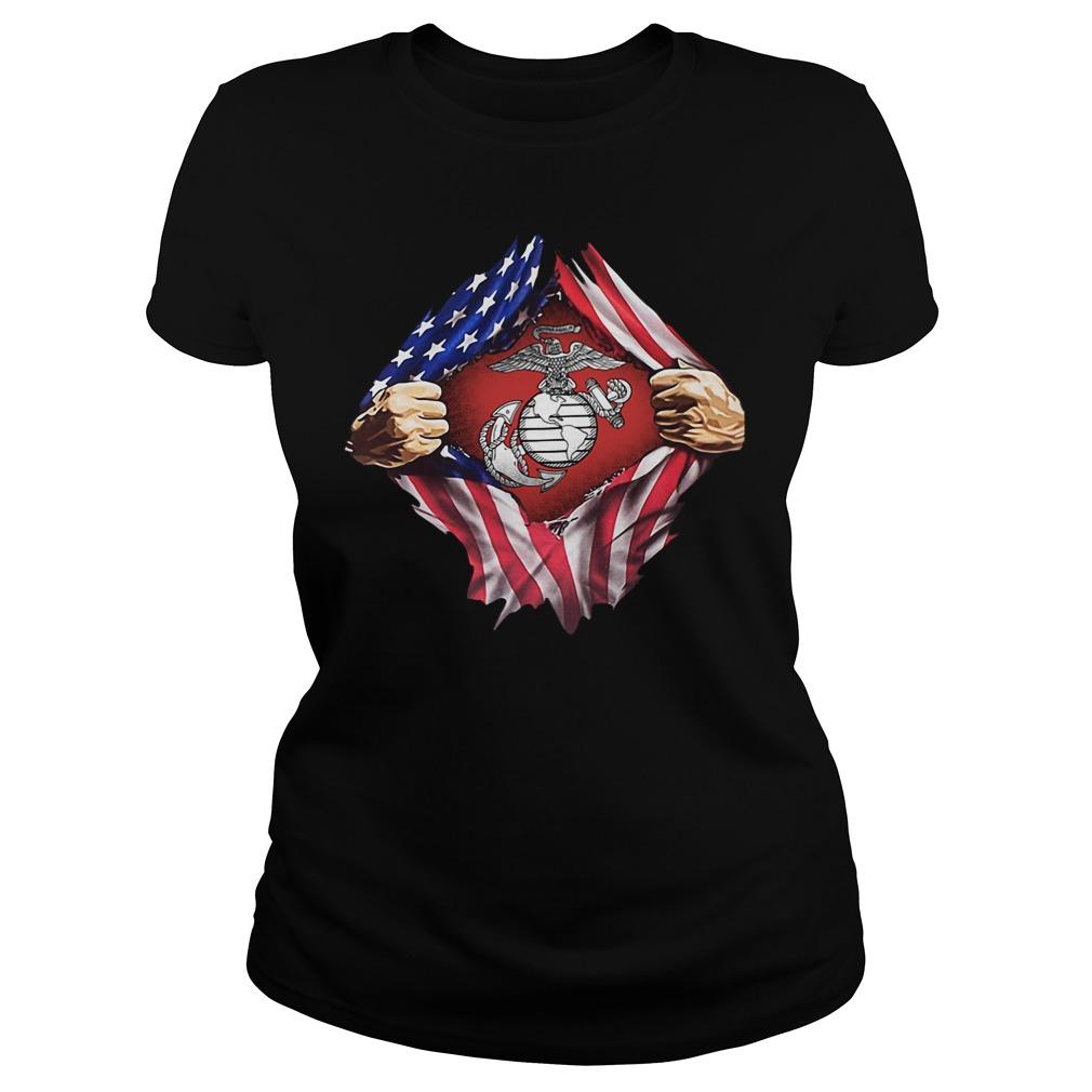Us Marine Inside Me America Flag Ladies Tee
