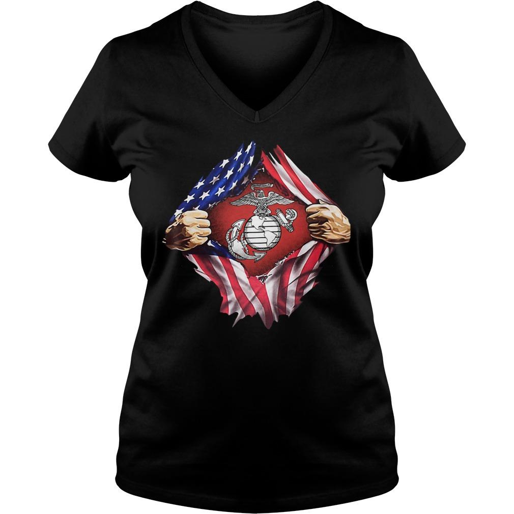 Us Marine Inside Me America Flag V-neck T-shirt