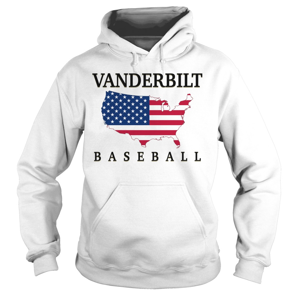 Vanderbilt Baseball Usa Flag Map Hoodie