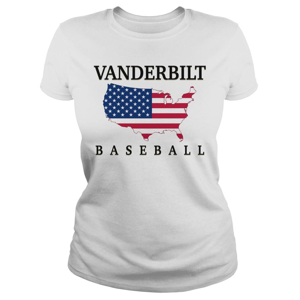 Vanderbilt Baseball Usa Flag Map Ladies Tee