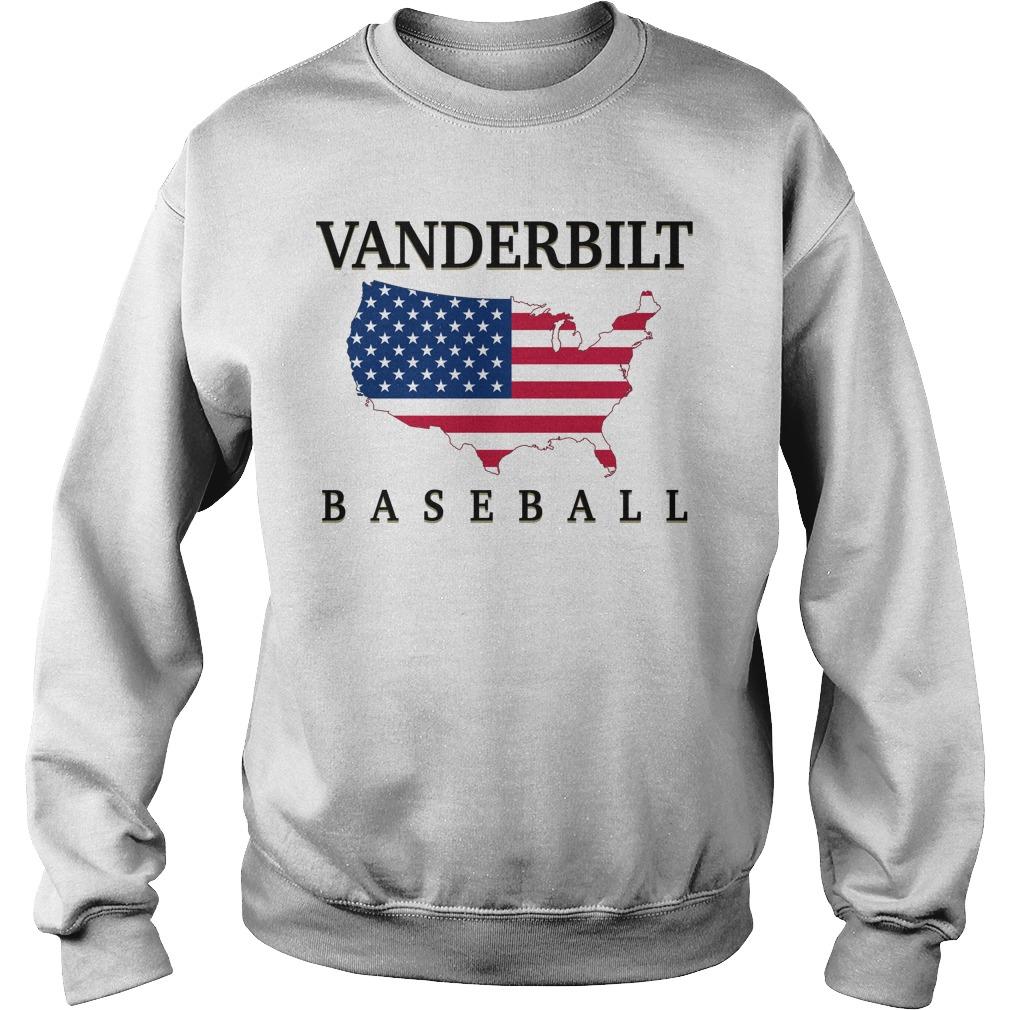 Vanderbilt Baseball Usa Flag Map Sweater