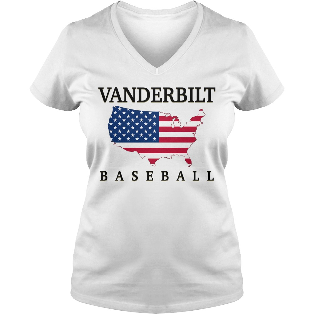 Vanderbilt Baseball Usa Flag Map V-neck T-shirt