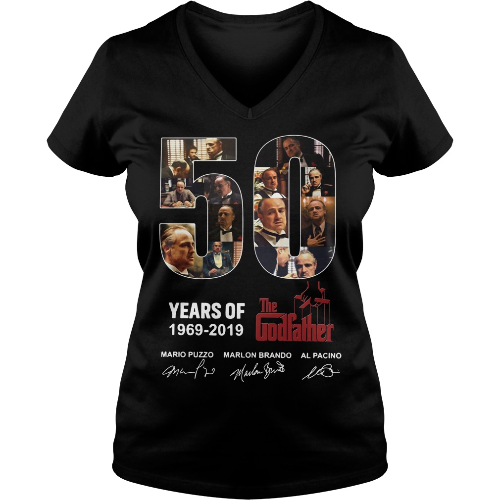 50 Years Of The Godfather 1969 2019 Signature V-neck T-shirt