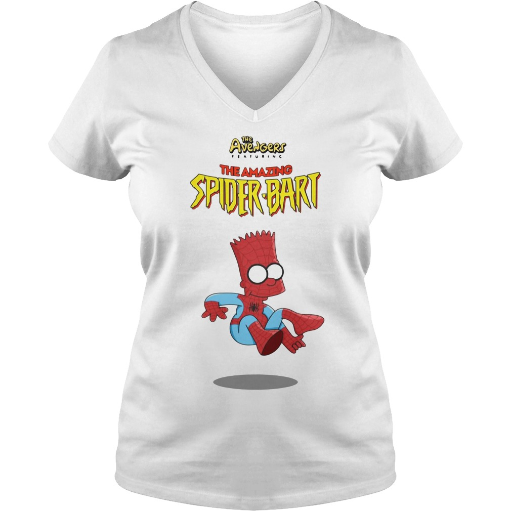 The Avengers Featuring The Amazing Spider Bart V-neck T-shirt