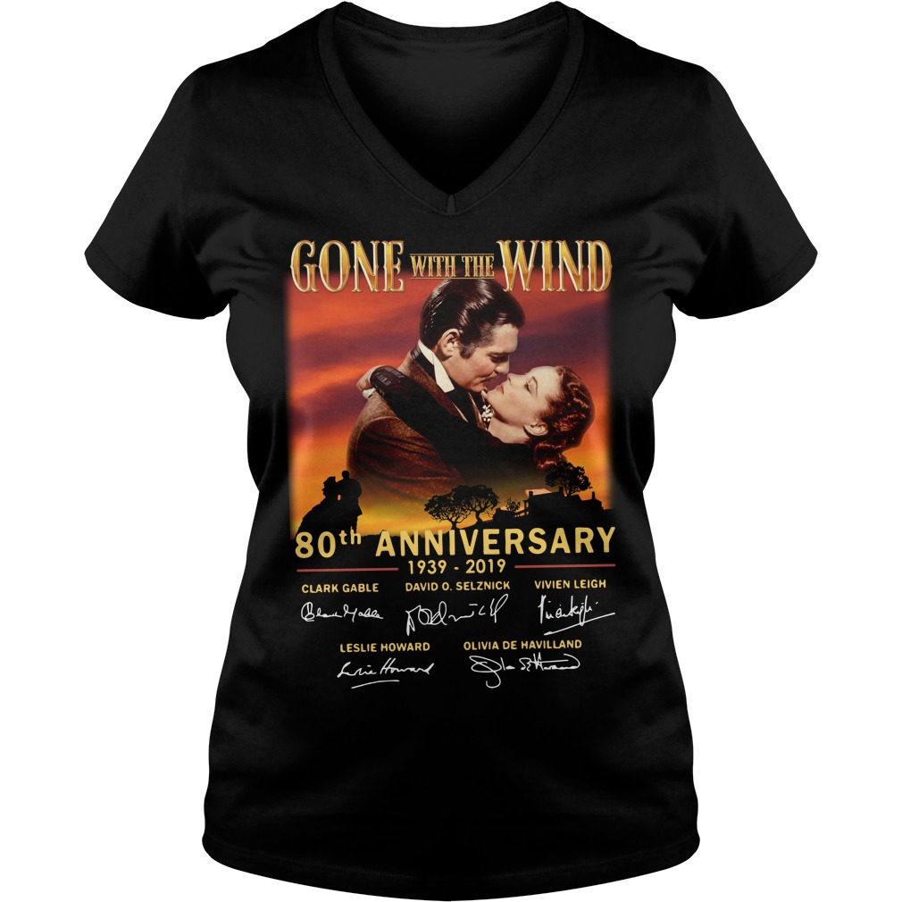 Gone With The Wind 80th Anniversary 1939 2019 Signature v-neck T-shirt