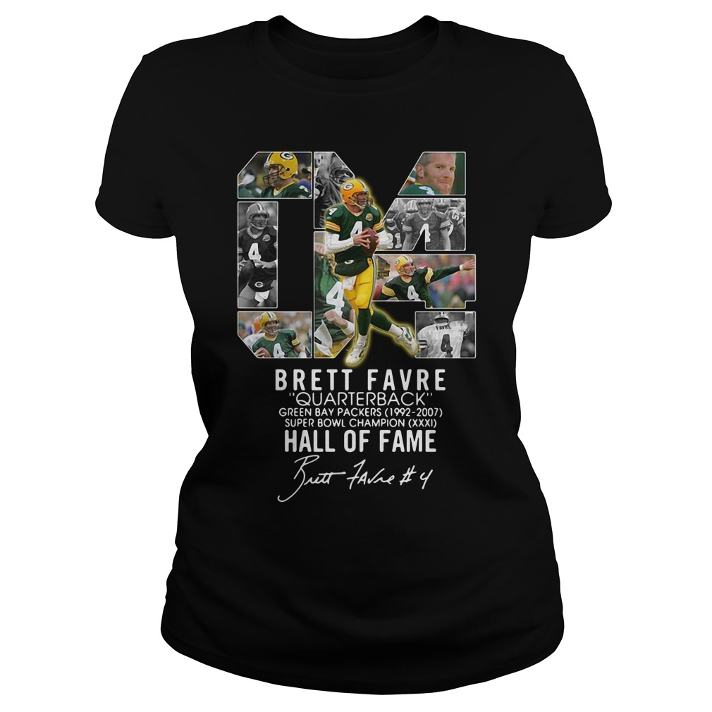 04 Brett Favre Quarterback Green Bay Packers 1992 2007 Super Bowl Ladies Tee