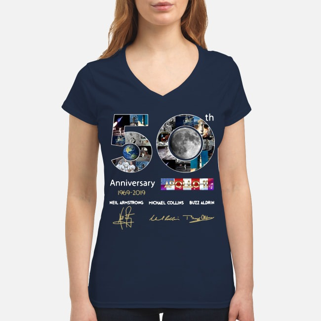 50th Anniversary 1969 2019 Apollo 11 Neil Armstrong Michael V-neck T-shirt