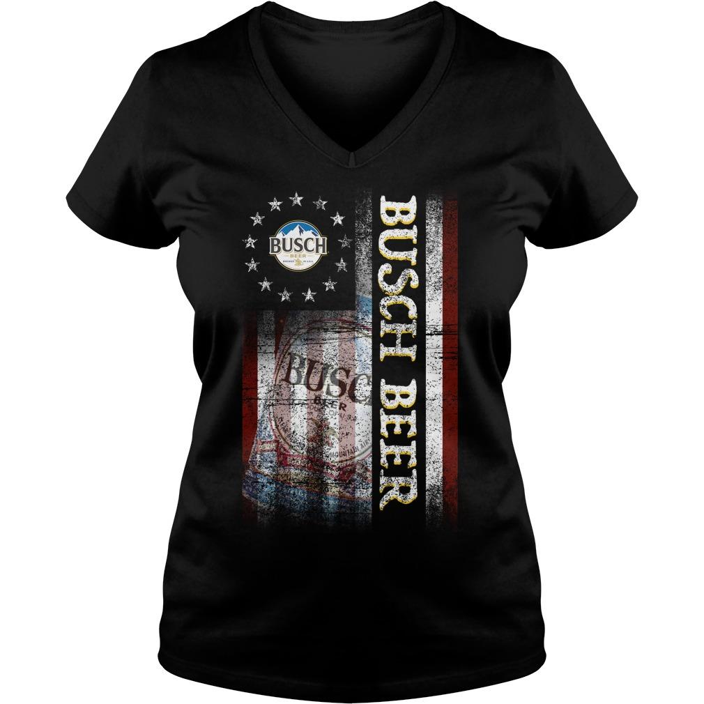 Betsy Ross Flag Busch Beer V-neck T-shirt