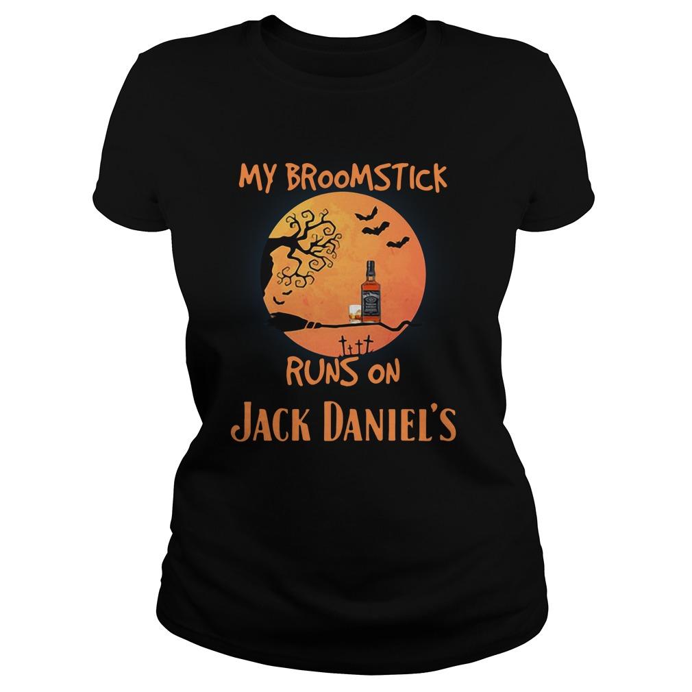 Halloween My Broomstick Runs On Jack Daniels Ladies Tee