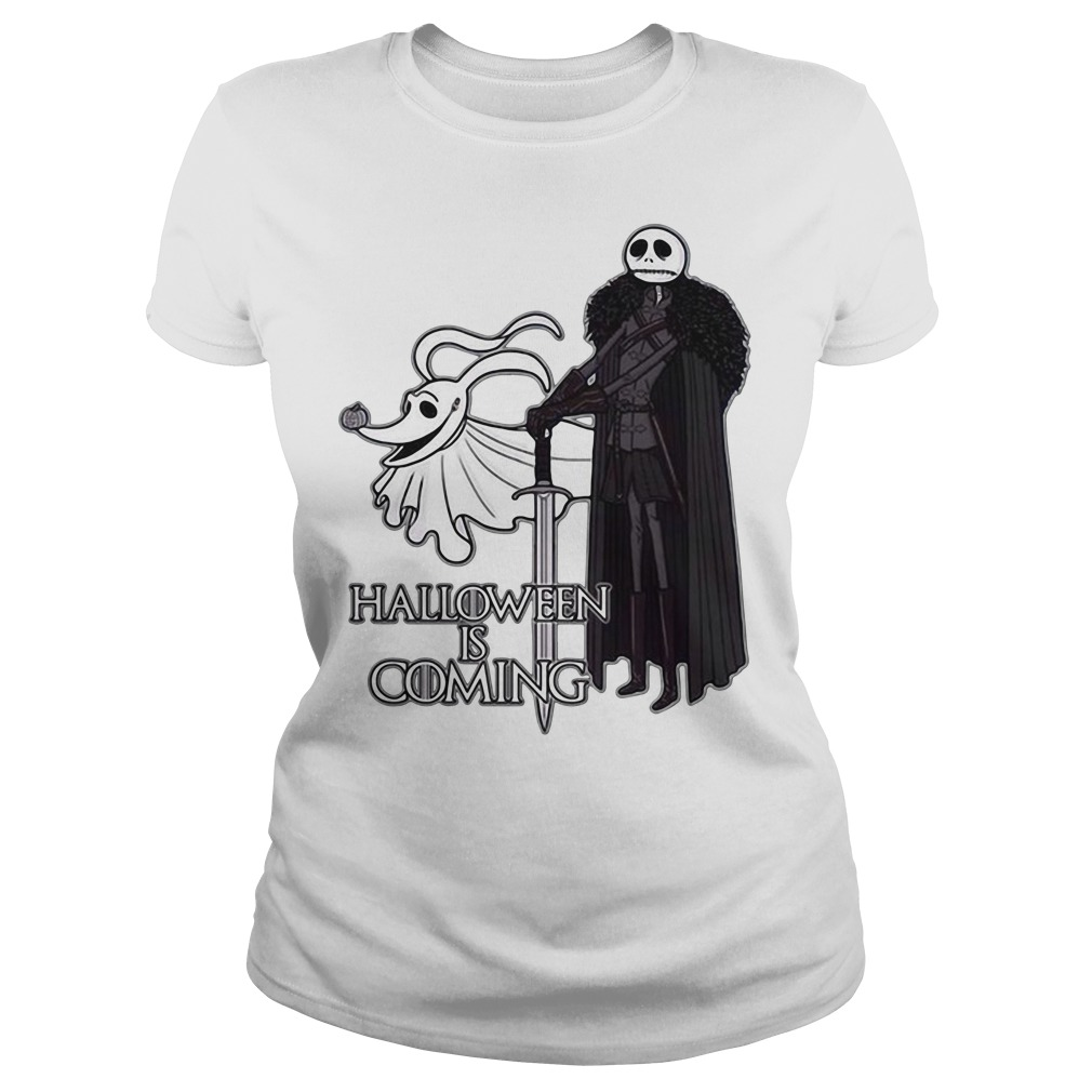 Jack Skellington And Zero Halloween Is Coming Shirt