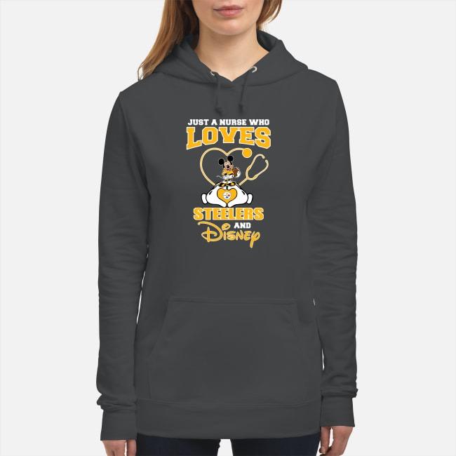 Just A Nurse Who Loves Pittsburgh Steelers And Disney Hoodie